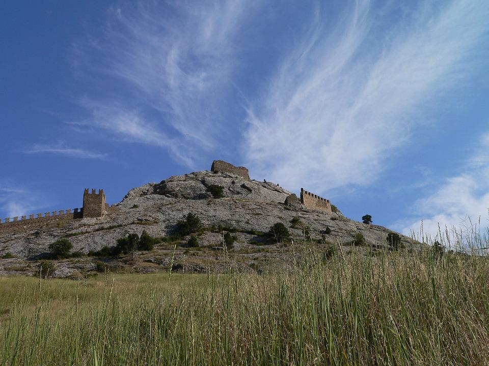 Hill, Nature, Crimea, Castle, Sky, Blue Sky, Clouds