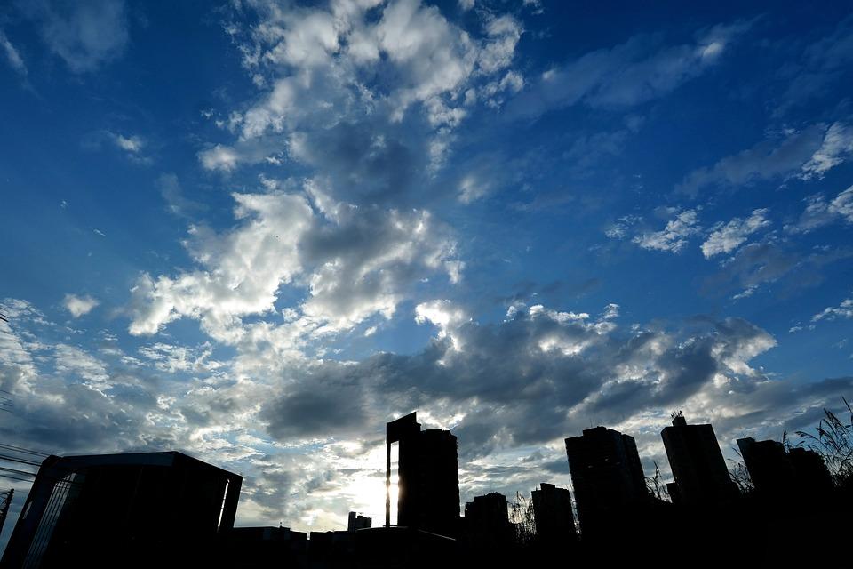 City, Landscape, Sky, Eventide, Horizon, Buildings