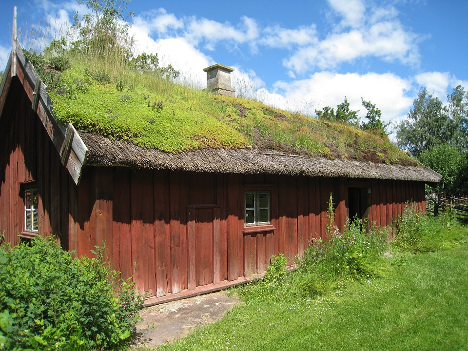 House, Sweden, Skara, Village, Grass, Summer, Sky