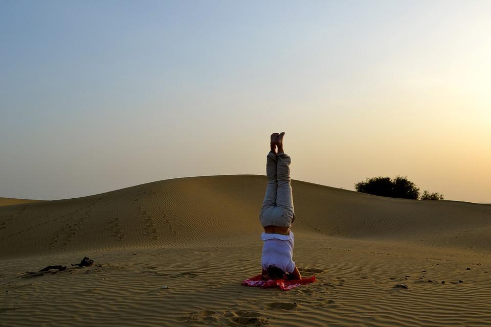 Sand, Desert, India, Yoga, Jaisalmer, Blue, Sky, Nature