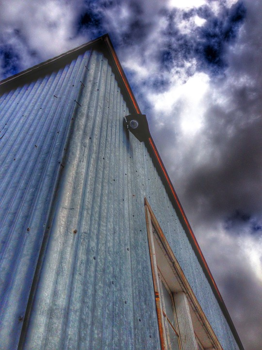 Building, Internment Camp, Sky, Clouds, Perspective