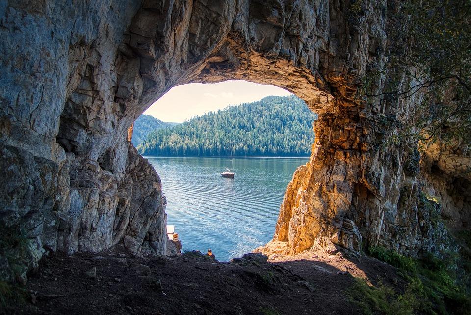 Mountains, Window, Rocks, Sea, Island, Sky, Vacation