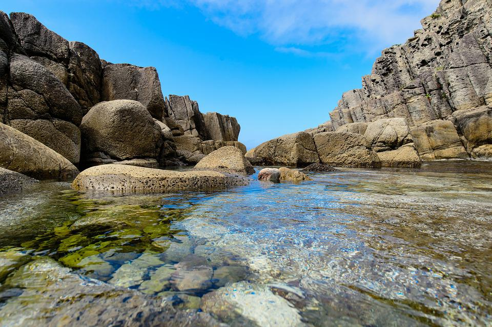 Sea, Rock, Sky, Water, Japan, Japan Sea, Haru No Umi