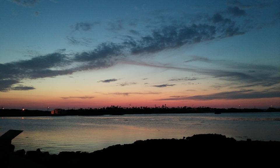 Je-ju Island, Jeju Island, Sea, Night, Jeju, Sky