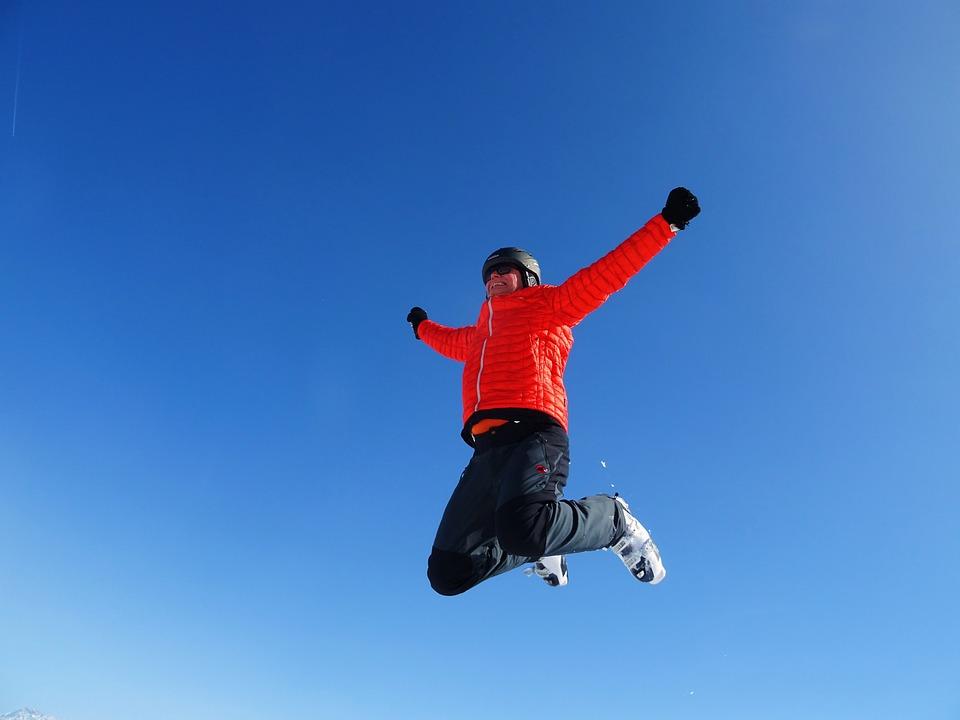 Skiing, Jump, Sky