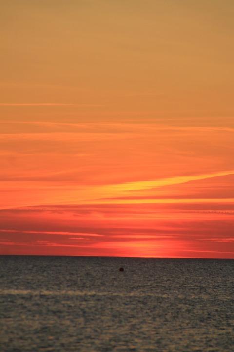 Sunset, Water, Lake, Sun, Sea, Sky, Evening