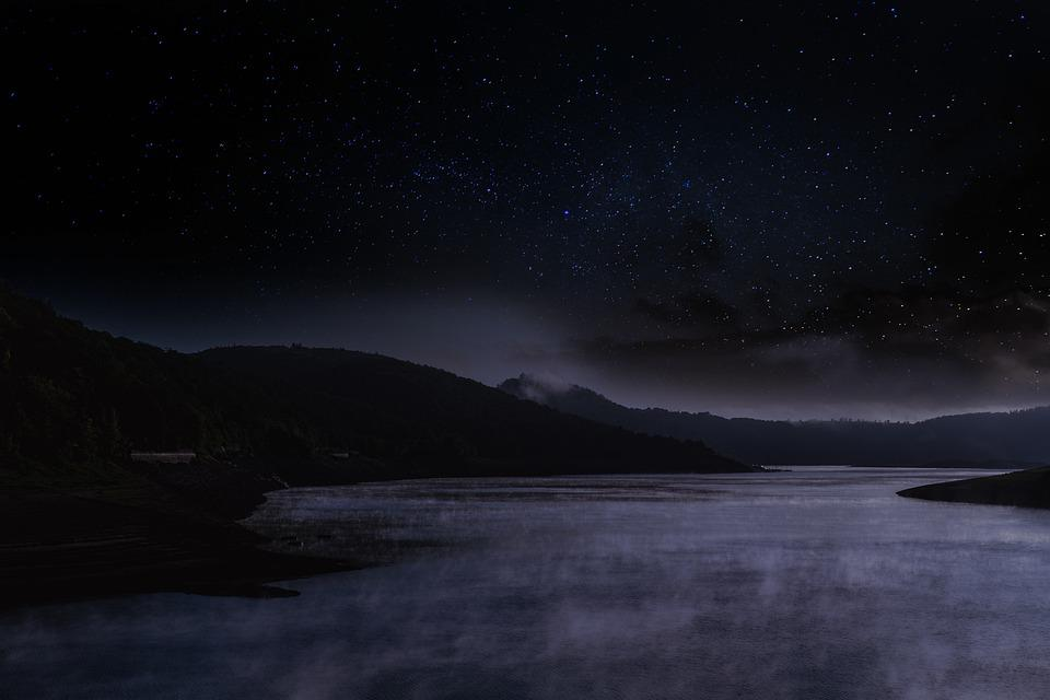 Lake, Water, Waters, Sky, Star, Starry Sky, Fog, Steam