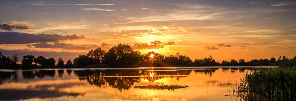 Sunset, Lake, Sky, Abendstimmung, Water Reflection