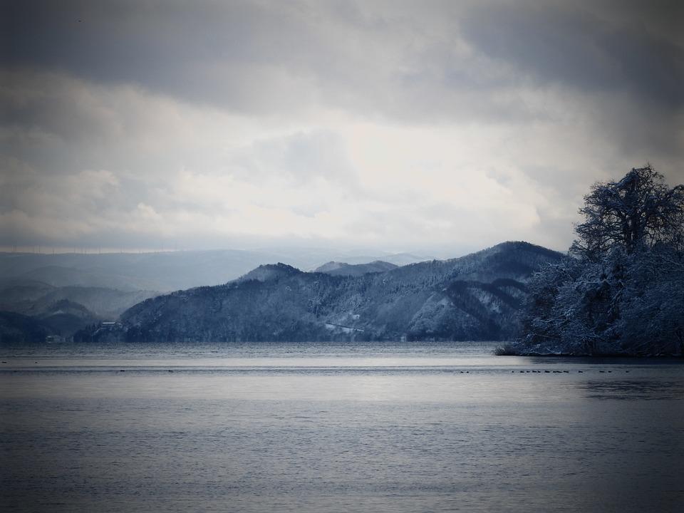 Winter, Lake, Japan, Sky, Mountain