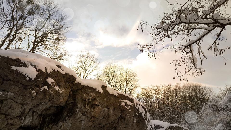 Landscape, Sky, Winter, Snow, Rocks, Tree, Forty
