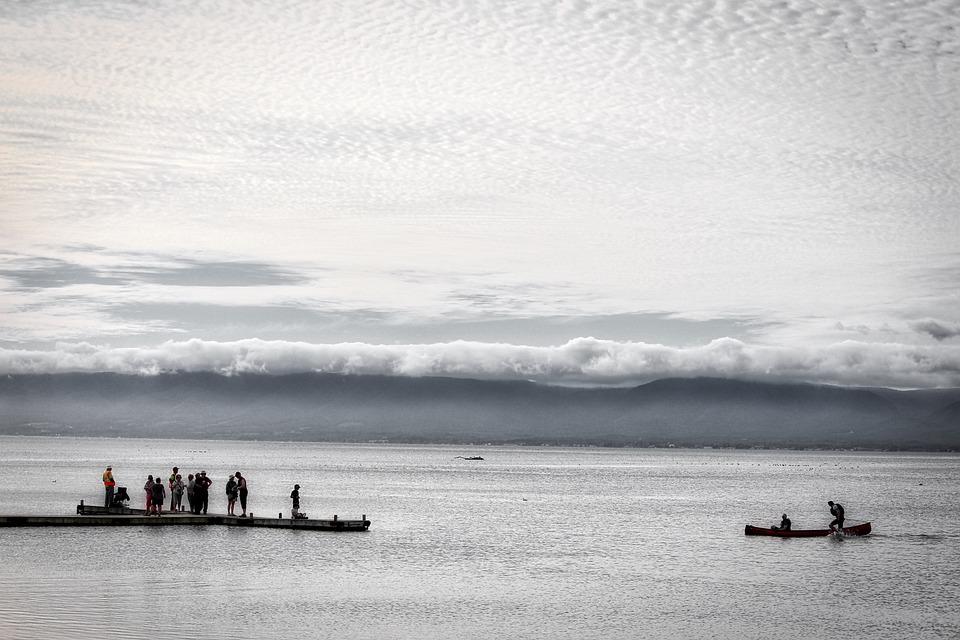 Canoe, Clouds, Water, Landscape, Sky, Boat, Scenic