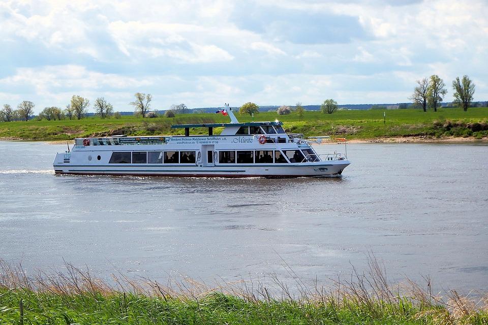 Excursion Steamer, Ship, River, Landscape, Clouds, Sky