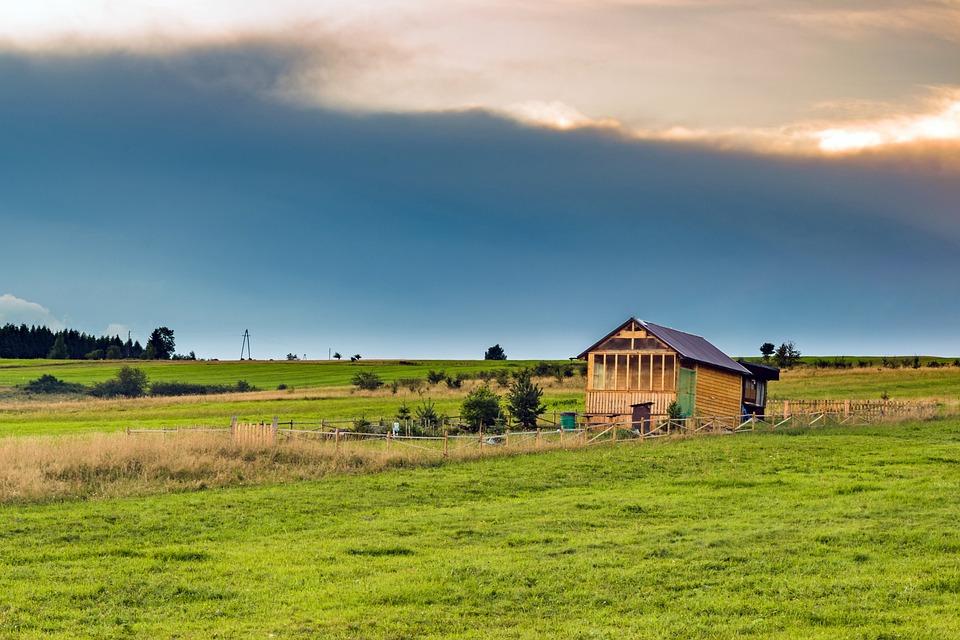 House, Cottage, Landscape, Village, Building, Sky