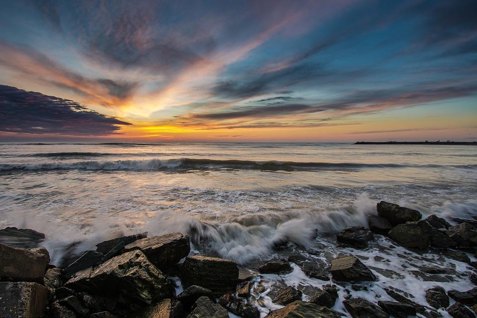 Sunset, Water, Dusk, Landscape, Seashore, Sea, Sky