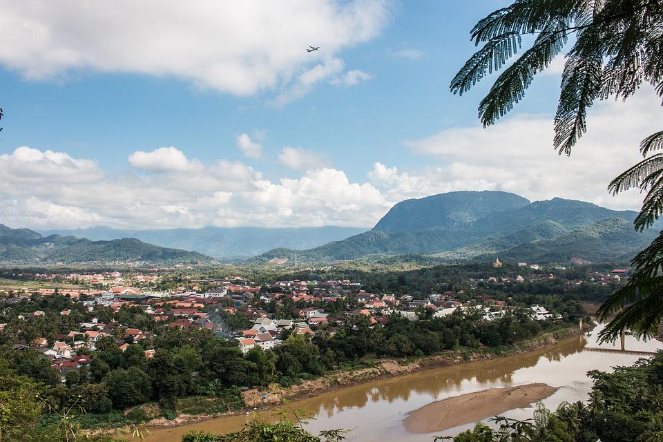 Laos, Mekong River, River, Brown Water, Mountains, Sky