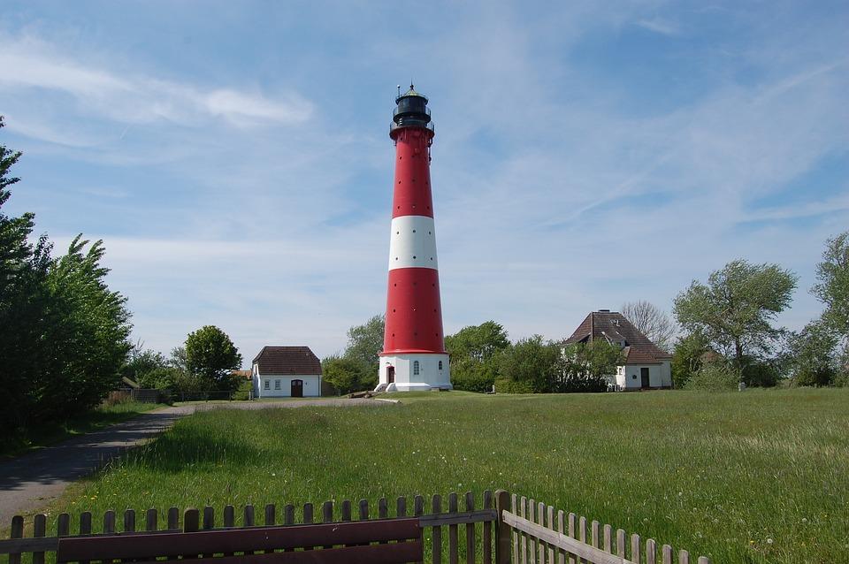 Lighthouse, Grass, Sky, Architecture