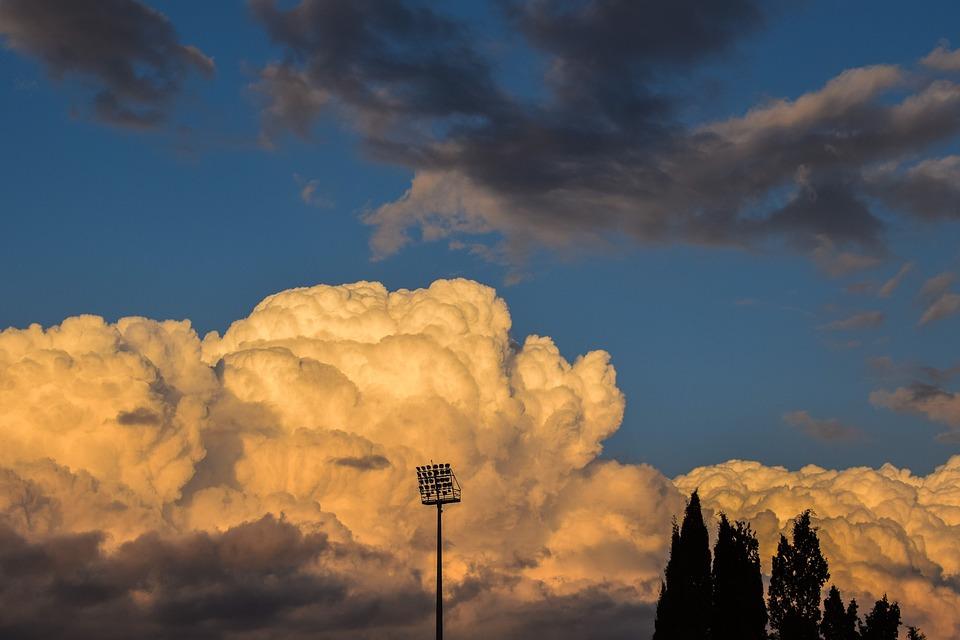 Flood Light, Lighting System, Trees, Sky, Clouds