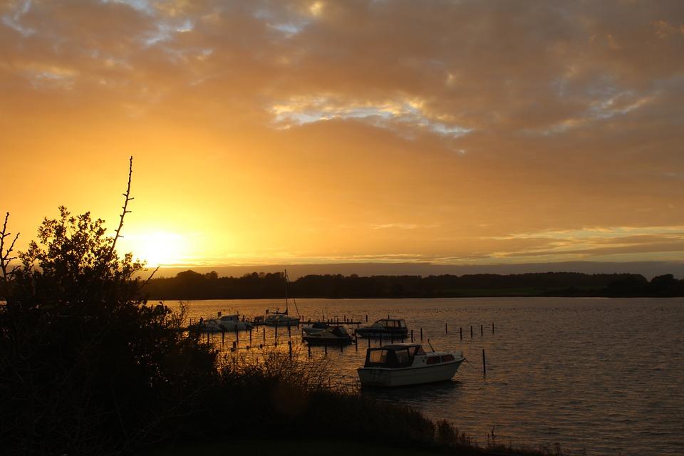 Sunset, Schlei, Boats, Maasholm, Water, Sky