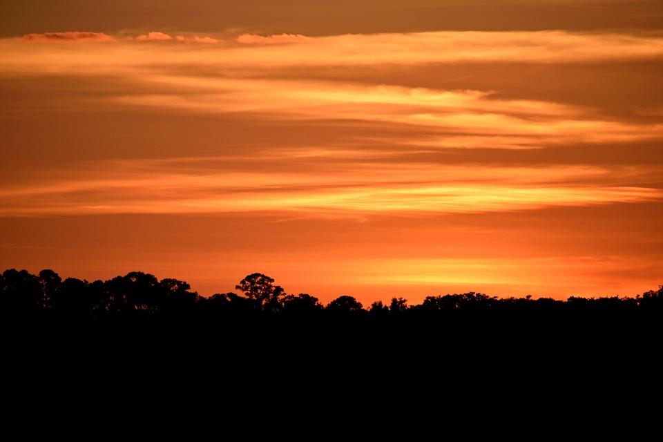 Majestic Sunset, Sky, Vibrant, Orange Color, River