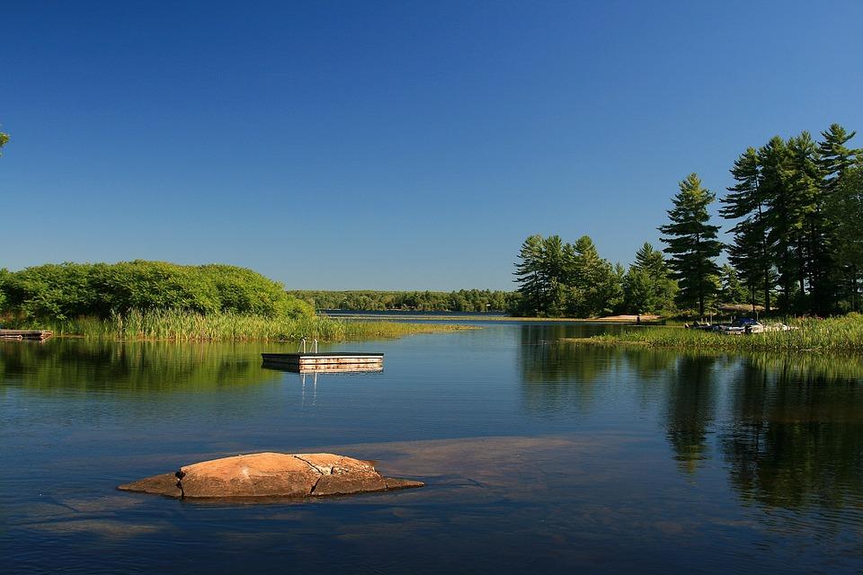 Stoney Lake, Water, Bay, Rock, Sky, Marsh, Outdoors