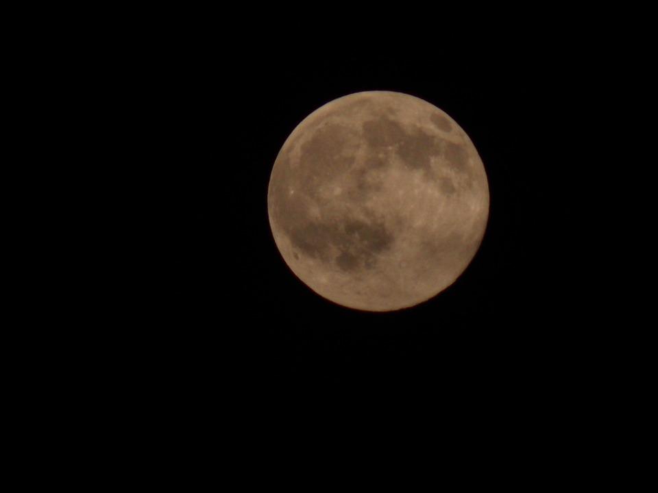 Moon, Full Moon, Night, Sky