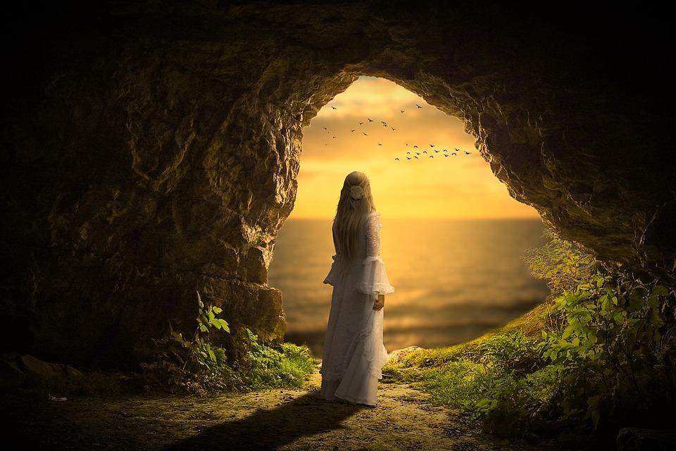 Woman, Human, Sensual, Cave, Mountain, Sky, Sun