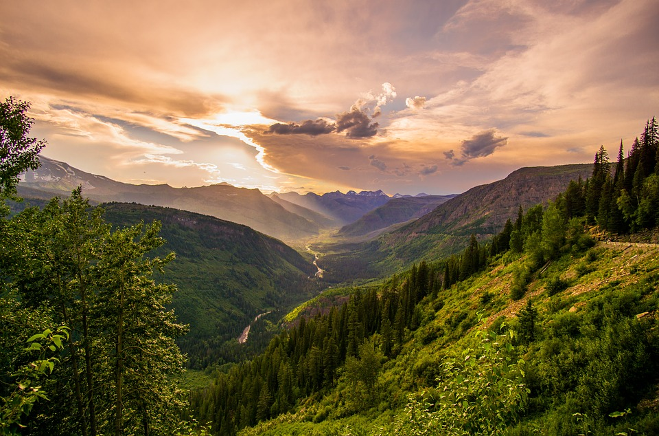Mountains, Trees, Sky, Clouds, Mountainous
