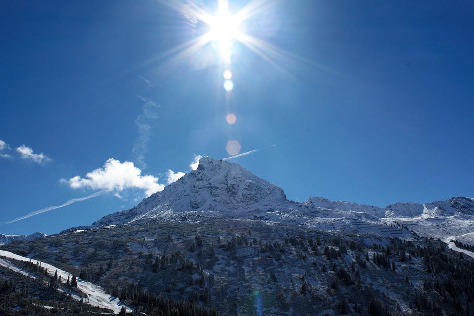 Sun, Backlighting, Mountains, Landscape, Sky