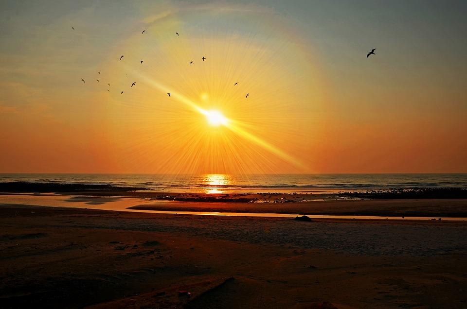 Sunset, Sea, Beach, Ocean, Water, Sun, Sky, Nature