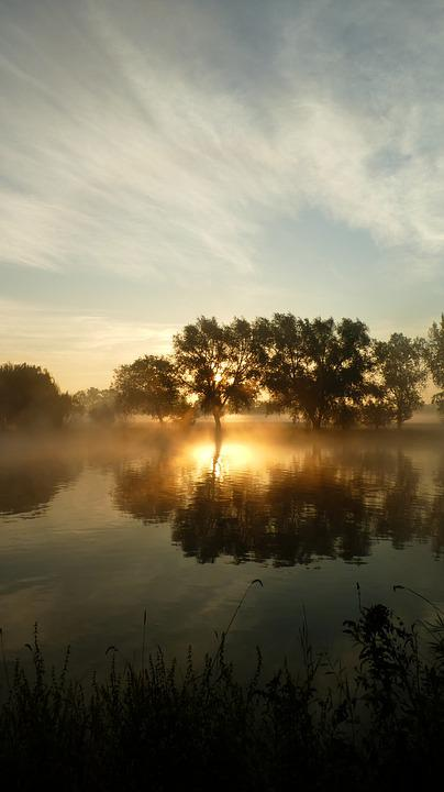 Water, Sunrise, Nature, Fog, Landscape, Sky, Lake