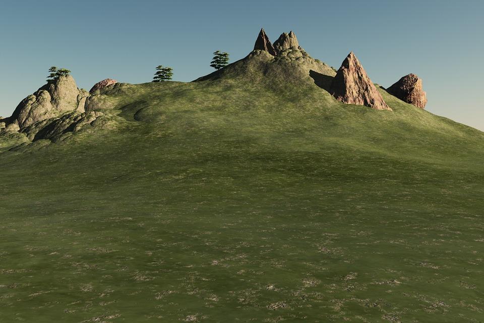 Landscape, Hill, Rocks, Boulders, Sky, Grass, Nature