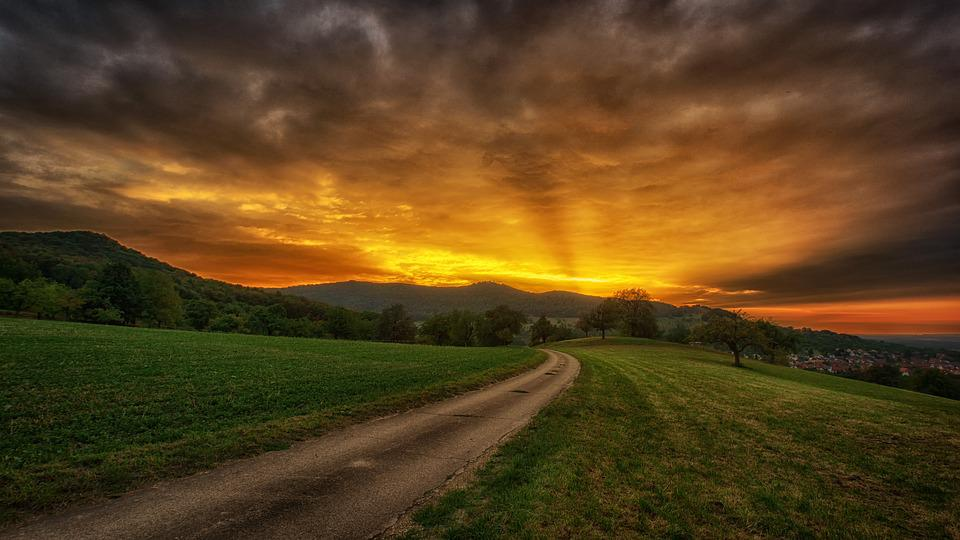 Nature, Sunset, Sky, Landscape, Panorama, Rural, Road