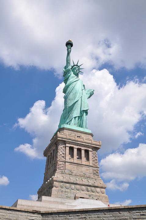 Statue Of Liberty, Usa, Clouds, New York, America, Sky