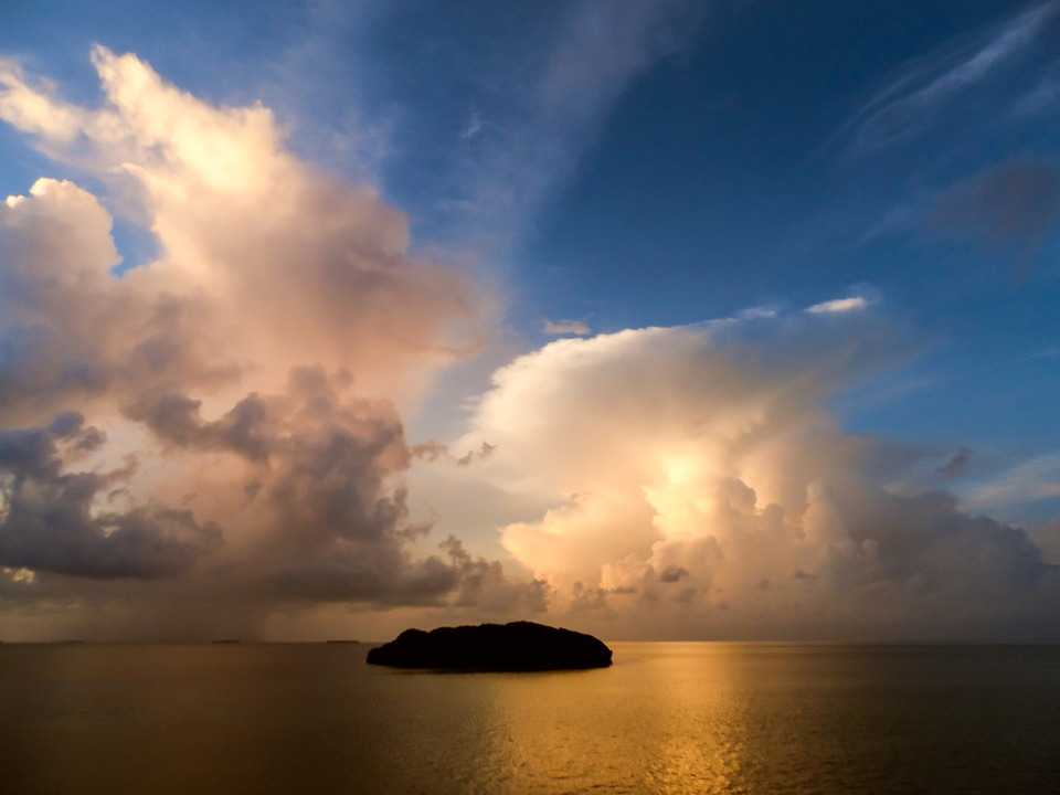 Sunset, Island, Water, Sky, Clouds, Sea, Ocean, Nature
