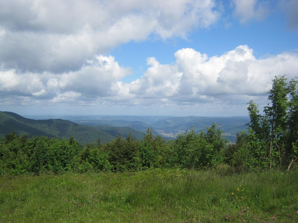 Vosges, View, Panorama, Summer, Green, Wide, Sky