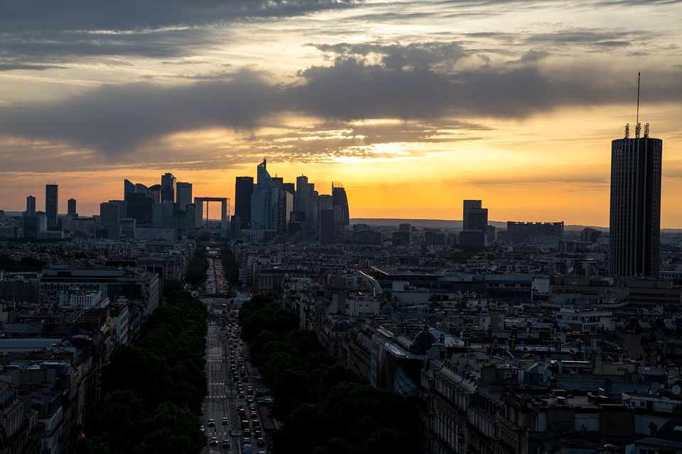 Paris, Evening, Sunset, Sky, Sunset Sky, Silhouette