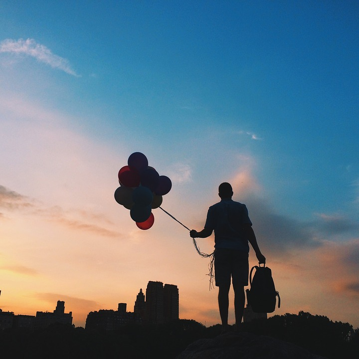 Silhouette, Balloons, Sunrise, Person, Sky, Colorful