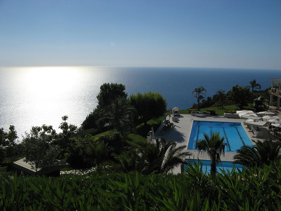 Calabria, Landscape, Sea, Reflection, Sky, Palem, Pool