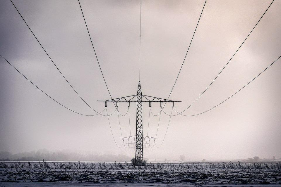 Winter, Current, Power Line, Energy, Sky, Landscape