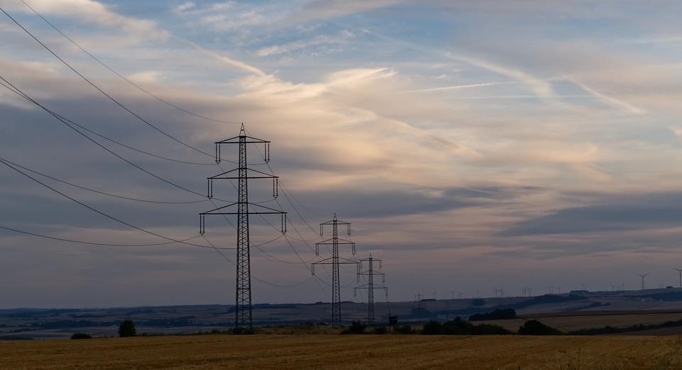 Power Line, Strommast, Clouds, Sky, Landscape, Current