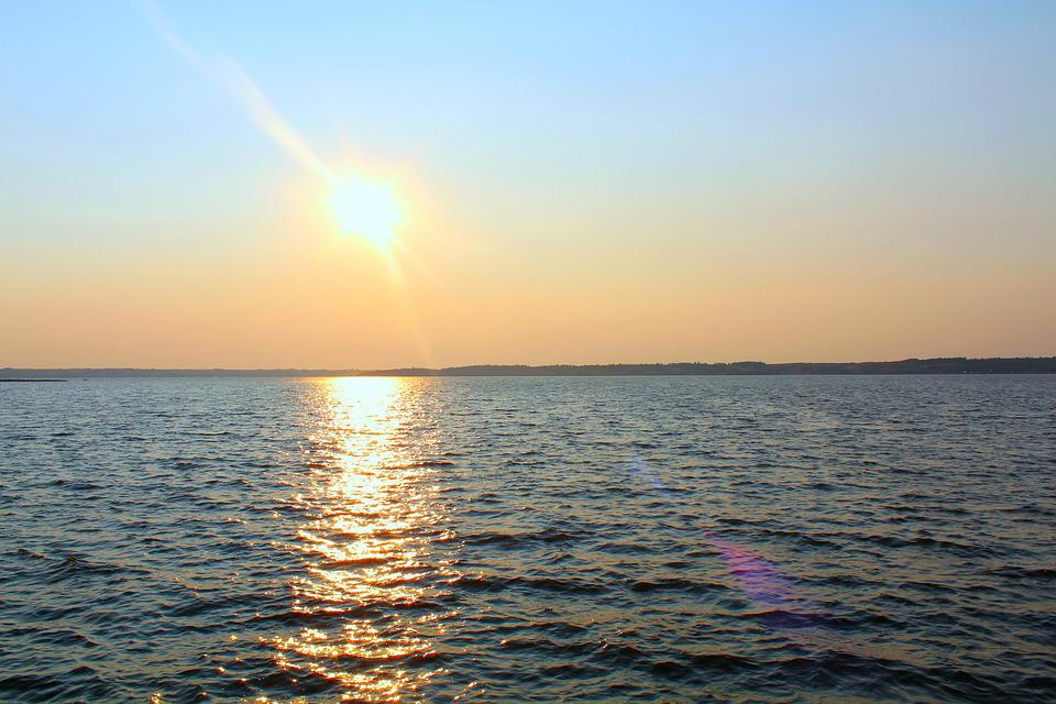 Sunset, Lake, River, Sky, Water, Sun, Sunlight