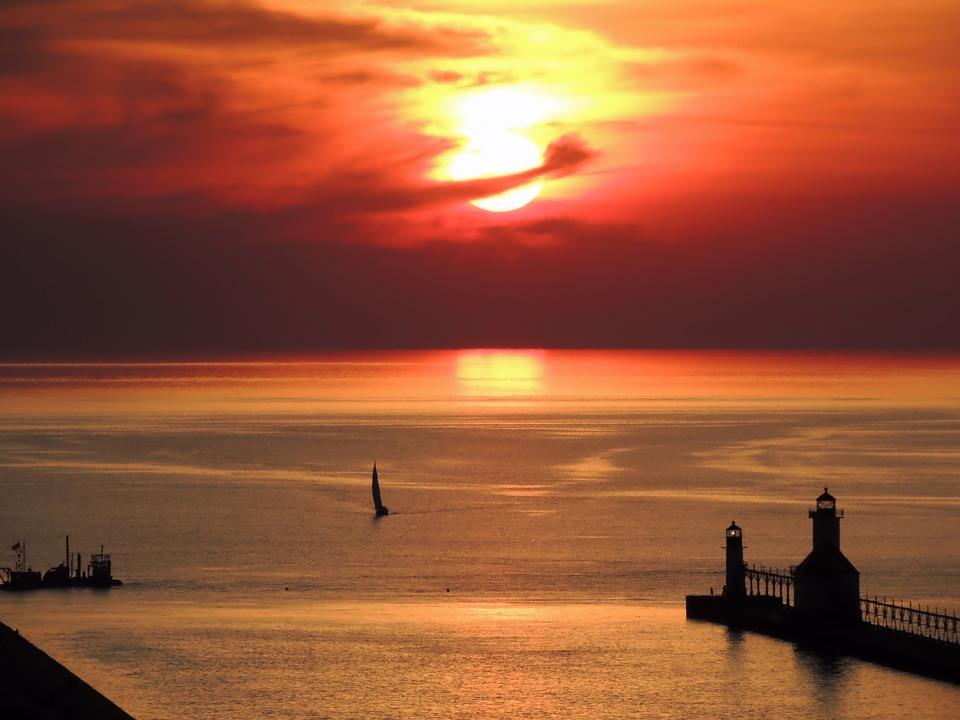 Lake Michigan, Sunset, Sky, Clouds, Sailboat, Lake