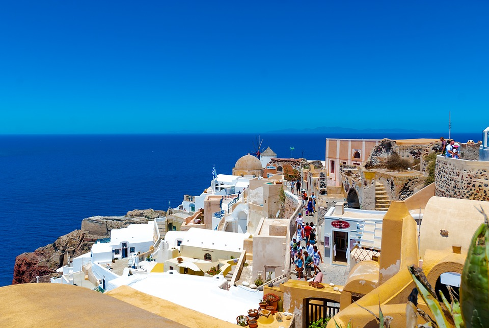 Greece, Santorini, The Sun, Holidays, Clouds, Sky