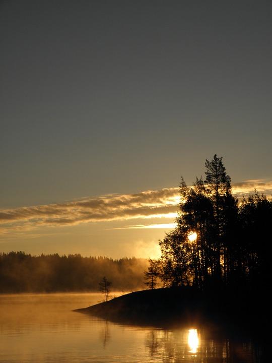 Sun, Finnish, Savonlinna, Saimaa, Sky, Water