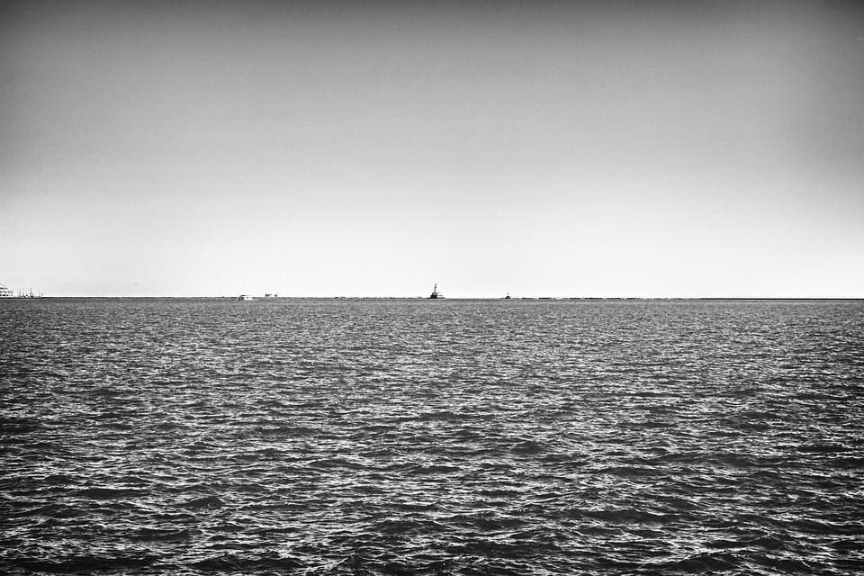 Ocean, Sea, Ships, Boats, Horizon, Sky, Black And White