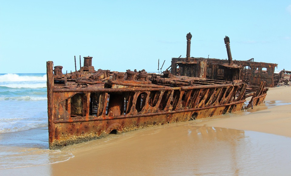 Waters, Travel, Sky, Sea, Fraser Island, Wreck