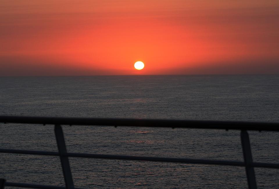 Sunset, Sea, Dusk, Ocean, Sky, Water, Horizon, Nature