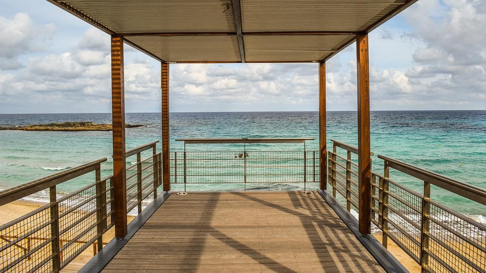 Platform, Deck, Sea, Horizon, Sky, Clouds, View, Beach