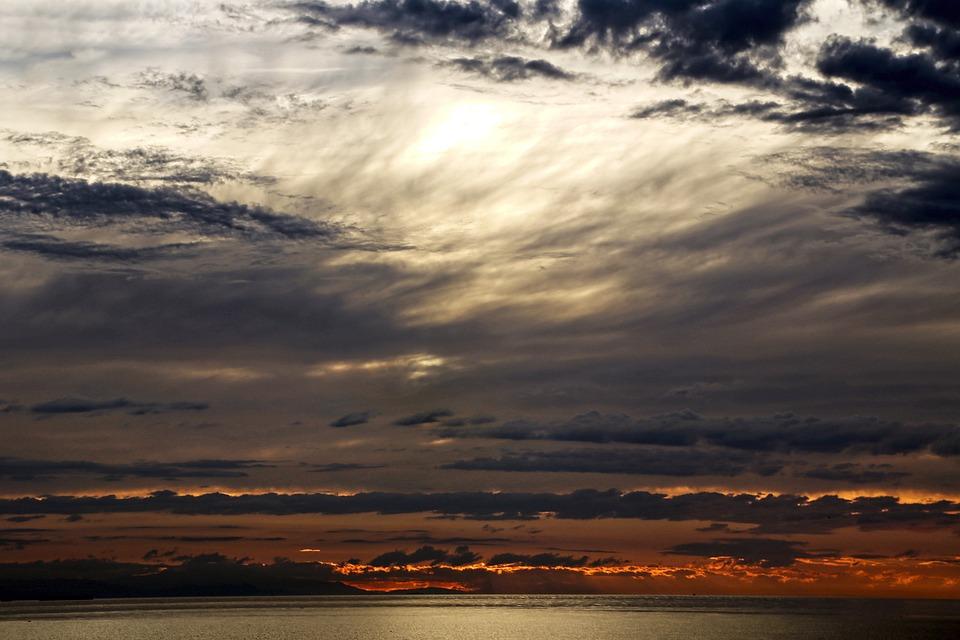 Sunset, Sky, Sea, Clouds, Horizon, Dusk, Nature, Water
