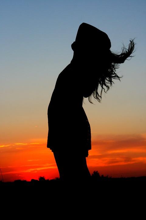 Sunset, Girl, Shadow, Wind, Silhouette, Sky, Cloud